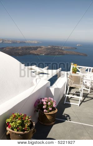 Incredilbe Santorini Greek Island View Of Volcano And Aegean Sea