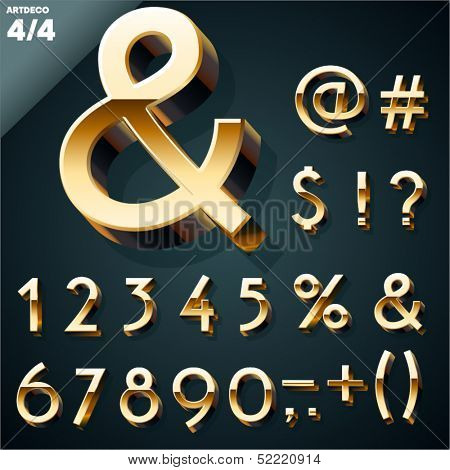 Vector illustration of golden 3D alphabet. Art Deco style. Set 4