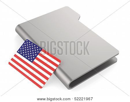 White Folder Icon And Flag