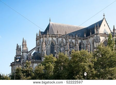 Gothic cathedral in Nantes, France