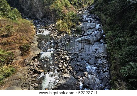 Top Angle View Of River Teesta And Reshi Joining, Sikkim