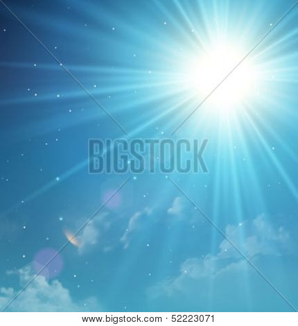 Twilight sky with sun and clouds. Vector background for your presentation.