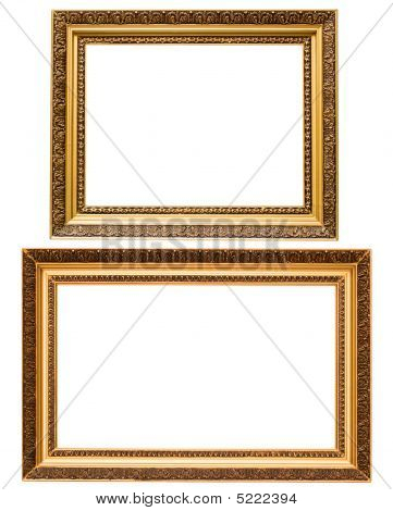 Two Gold Plated Wooden Picture Frames Isolated