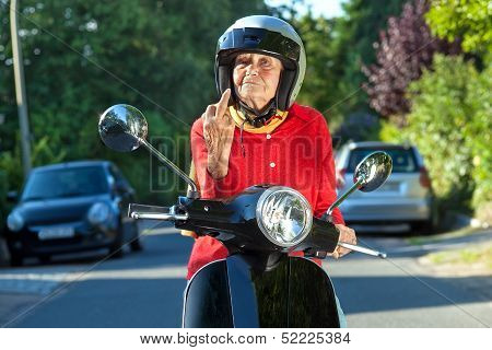 Senior Woman Showing The Finger