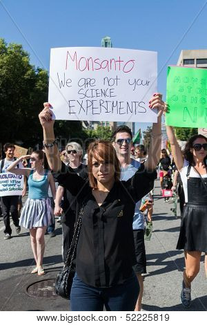Protesters rallied in the streets against the Monsanto corporation.