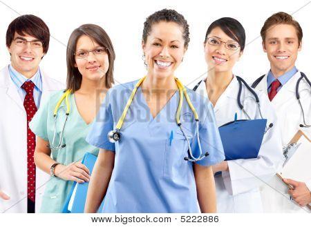 Sorrindo médico enfermeiro