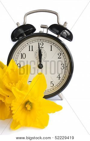 Vintage Clock, Yellow Daffodils, dst.