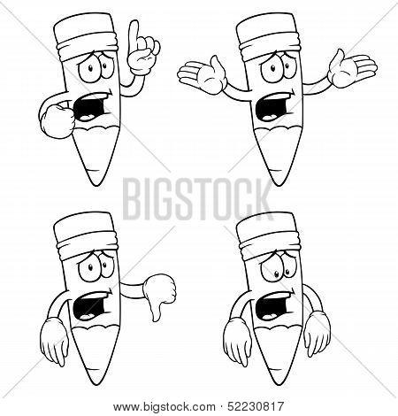 Black and white crying cartoon pencils set