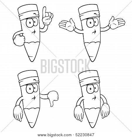 Black and white thinking cartoon pencils set