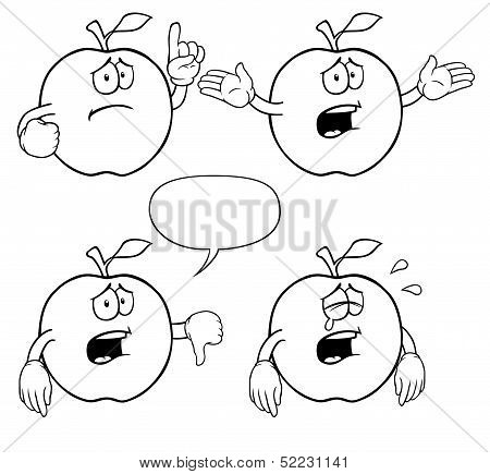 Black and white crying apple set