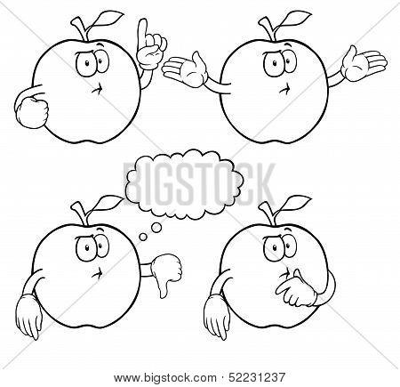 Black and white thinking apple set