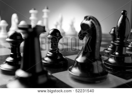 Chess Pieces On A Chess Board