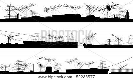 Set Of Silhouettes Of Roof With Antennas.