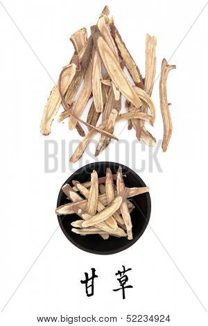 Licorice root chinese herbal medicine with mandarin title script translation. Gan cao.