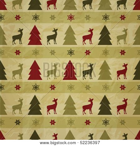 Vector Seamless Winter Pattern, Crumpled Paper Texture