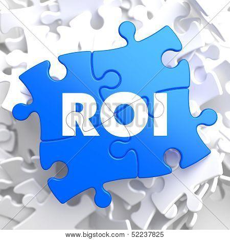 ROI on Blue Puzzle Pieces. Business Concept.