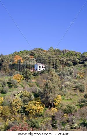 Single House On The Side Of A Hill