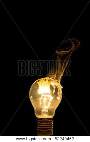 Broken Light Bulb Burn Out With Flame