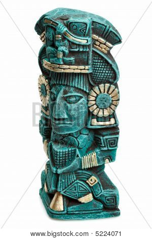 Mayan Deity Statue From Mexico Isolated