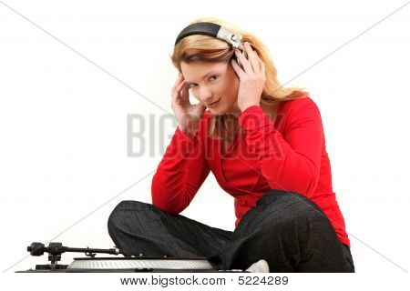 Young Woman Listening To Record