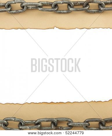 aged paper and chain isolated on white background