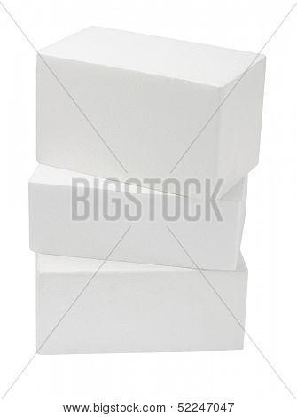 Stack Of Styrofoam Boxes On White Background