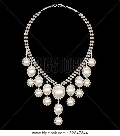 Female Necklace Wedding With Pearls On A Black Background
