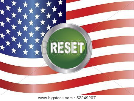 Government Shutdown Reset Button With Us Flag Illustration
