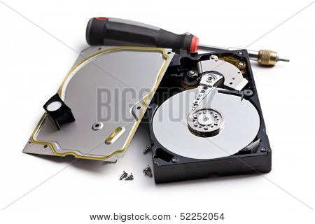 dismanteled hard disk and screwdriver on white background
