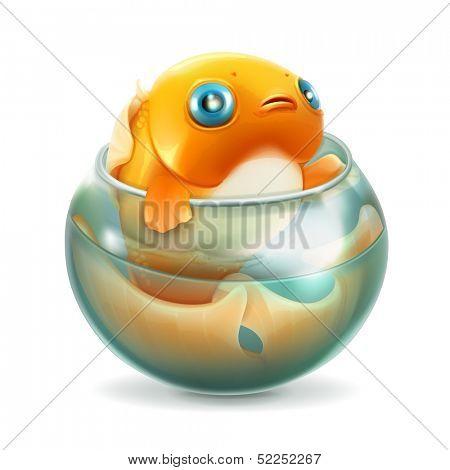 Goldfish in aquarium, vector
