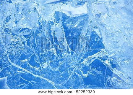 ice of Baikal lake in winter