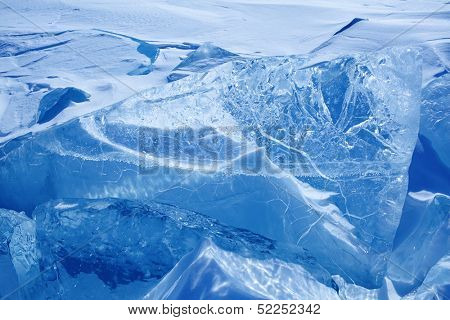 Winter ice landscape on  lake Baikal