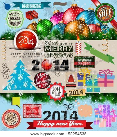 2014 Christmas Vintage typograph design elements: vintage labels. ribbons, stickers, baubles and gift boxes, birds, liquid drops, swirls and so on.