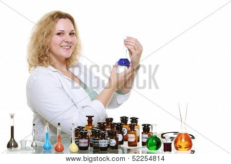 Chemist Woman With Chemical Glassware Flask Isolated