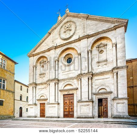 Pienza, Duomo Cathedral Church Facade In Tuscany, Italy