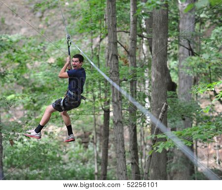 Teen Boy on Zip Line