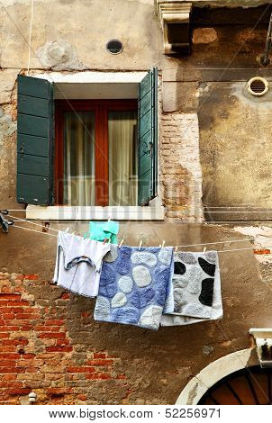 Clothes dry outdoor in Venice, Italy