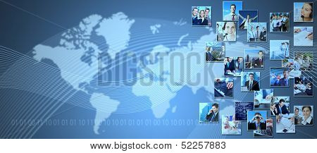 Business collage background. Media and communication technology background.