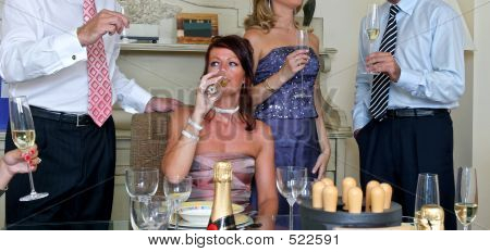 Smart Guests Mingling At A Dinner Party
