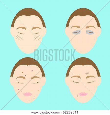 Woman Face Problems On Blue Background
