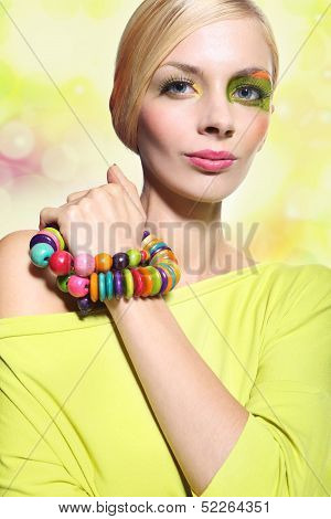Woman in a colorful make-up