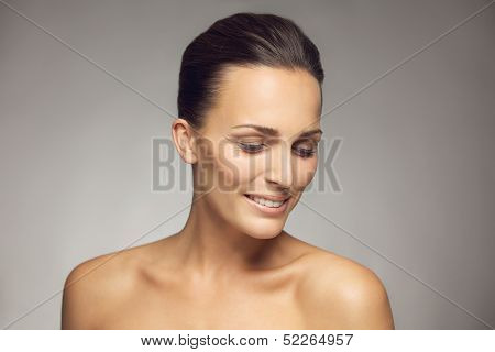 Natural Beauty Posing On Gray Background