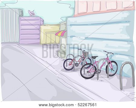 Watercolor Illustration Featuring Bicycles Parked in a Small Parking Lot