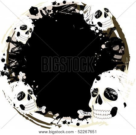 Illustration of Skulls Framing a Black Central Void with Some Grungy Designs at the Edges