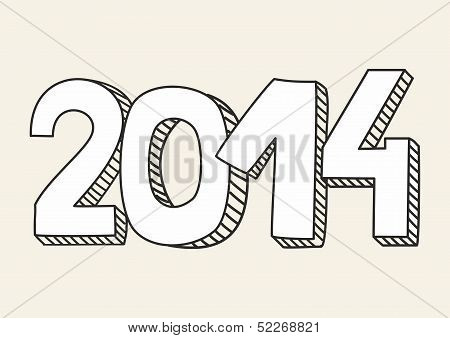 New Year 2014 vector hand drawn doodle sign