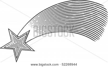 Shooting star in engraved style