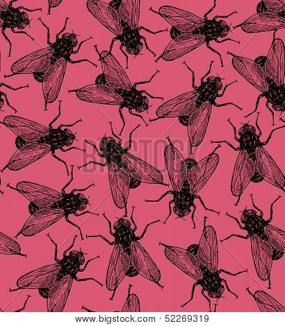 Seamless vector flies pattern