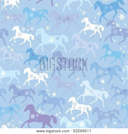 Seamless Pattern With Wild Horses And Snowflakes On Winter Light Blue Background