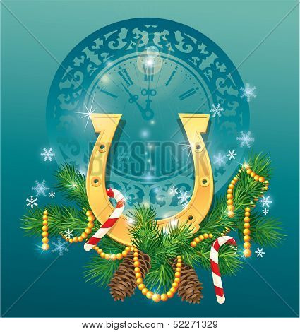 Christmas And New Year Background With Golden Horse Shoe - Symbol 2014.