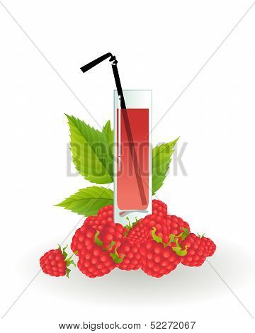 Glass of raspberry juice